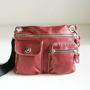 Roots Village Bag  Dark Red Leather Crossbody